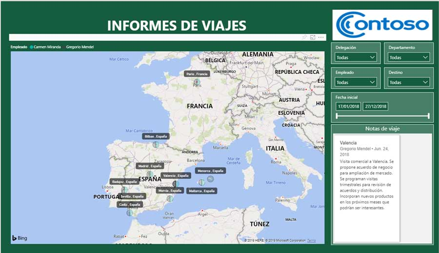 Informes viaje mapa